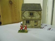 28MM PMC GAMES ME10 (PAINTED) TWO STOREY HOUSE SLATE ROOF - MEDIEVAL ECW