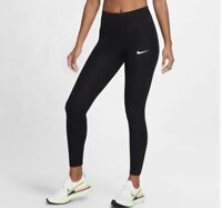 NIKE Women EPIC LUX RUNNING LEGGINGS DRI-FIT Black sz XS Black geometric ribbed