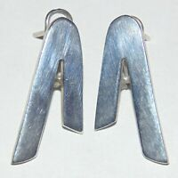 Vintage sterling silver inverted V shape pierced french clip earrings, Mexico