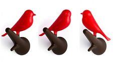 Wandhaken mit Vogel Sparrow auf Ast - 2er Set - rot/braun - Kleiderhaken, Deko