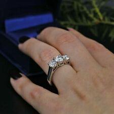 & Engagement Ring Solid 14k White Gold 1.75 Ct 3 Stone Round Moissanite Wedding