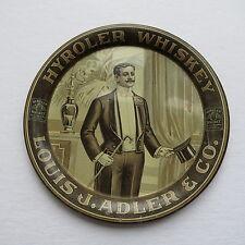 "Antique Advertising Tin Litho Tip Tray ""Hyroler Whiskey"" Dapper Man Top hat cane"