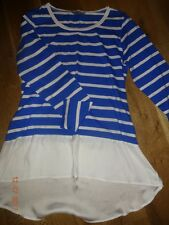💕 New TU Blue & White Breton Stripe Top with Satin Frill Bottom Size 14 💕