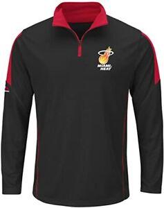 NBA Miami Heat Majestic Black 1/4 Zip Performance Long Sleeve Pull Over NEW