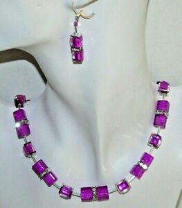 2er Schmuckset Würfelkette Ohrh. Glasperlen Fuchsia Magenta pink Strass 207a