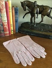 """HERMES Paris Gloves Exclusive Vtg 40-50s Cream Red """"X"""" Cross Wear-Right XS RARE!"""