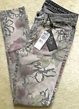 LADIES GUESS BRITTNEY FLORAL MD RISE SLIM FIT STRETCH SKINNY JEAN NW $139 31/31