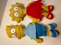 "Vintage The Simpsons Bart and Lisa Simpson Rag Doll 11"" Plush Stuffed Toy"