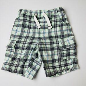 Carter's Boys 2T Shorts Mint Green Plaid 2 Pockets Draw String