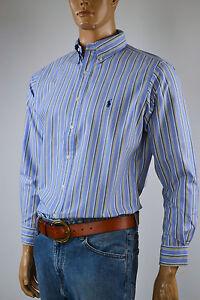Ralph Lauren Classic Fit Blue,White & Yellow Oxford Shirt 16 32/33 NWT