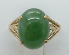 14k Yellow Gold 5.5CT Oval JADE JADEITE Cabochon Ring 3.1g Ring Size 7.25