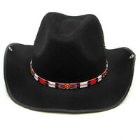 Red Black Beaded Medicine Man's Beadwork Cowboy Hatband Belt 1/2 inch H31/7