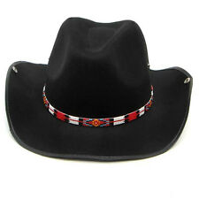 Red Black Beaded Medicine Man's Beadwork Cowboy Hatband Belt 1/2 inch H31/7