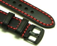 22mm Black/Red HQ Leather Hand-Stitched Watch Strap Black Buckle Fit All 22mm