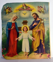 """14"""" Vintage Religious Christian Print Young Jesus Christ Joseph Mary God Angels"""