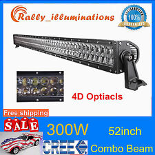 52'' 300W CREE LED Work Light Bar Jeep Car Spot Flood 4D Opticals Tractor 12V24V