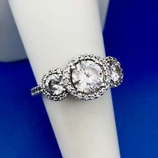 Cz Trio Halo Engagement Promise Ring Designer 925 Sterling Silver Cubic Zirconia