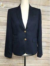 J CREW Women's Navy Blue Schoolboy Blazer Suit Jacket Wool  Size 4