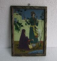 Vintage Old Hand Painting Reverse On Glass With Wooden Frame Rare