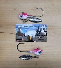 00006000 (2)Herring Head Underspin 1oz, 6/0 Vmc Striper Rockfish Cabezon Trout Pink Back