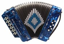 Rossetti 3412 34 Button 3 Switch 12 Bass Accordion - Blue with Straps and Case!