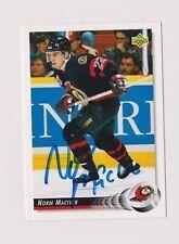 92/93 Upper Deck Norm McIver Ottawa Senators Autographed Hockey Card