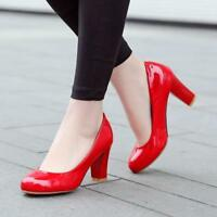 Women's Pumps Round Toe Dress Court Patent Leather Block Chunky High Heel Shoes@
