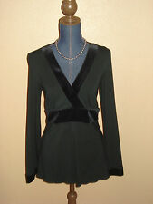 INC Black Velvet Trim Baby Doll Surplice Tunic Top Size M NWT