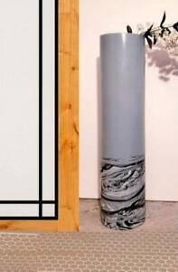 Black Gray FLOOR Vase 16 inch/Hand Painted Modern Black Gray Glass Vase