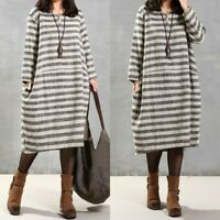 Women Long Sleeve Stripe Casual Midi Dress Kaftan Oversize Cotton Shirt Dress US
