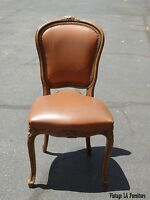Vintage French Provincial Style Carved Wood Brown Leather Accent Chair