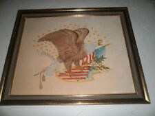 Vintage American Eagle Painting on Linen - Signed  Elizabeth Mitchell - 1974