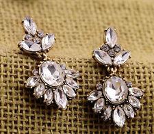 J Crew Factory Clear White Crystal Petite Florets Flower Stud Mini Earrings NWD