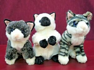 "Lot of 3 Melissa & Doug 9"" Plush Black & White Kittens Cats Siamese Tiger Stripe"