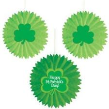 St Patrick's Day Tissue Fans w/Shamrock Attachment (3 pack)