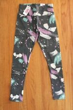 Justice Girls' Size 18/20 Gray Leggings with Multi-Color Paint Brush Design