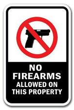 """No Firearms Allowed On This Property Sign 12"""" x 18"""" Heavy Gauge Aluminum Signs"""