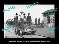 OLD LARGE HISTORIC PHOTO OF BENNINGTON MICHIGAN, THE RAILROAD DEPOT STATION 1900