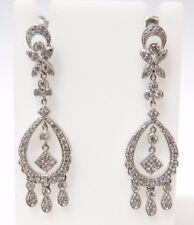 "Womens 14k White Gold Diamond Chandelier Earrings 2"""