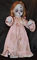"OOAK Zombie Creepy 15"" DOLL Halloween Prop Horror Scary Hand Painted Blond Girl"