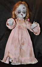"""Zombie Creepy 15"""" DollHalloween Prop Horror Scary Hand Painted Blond Girl Ooak"""