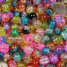 Women 50 pcs Mix 2-tone Crackle Round Beads Fit Bracelet & Necklace Jewelry MW