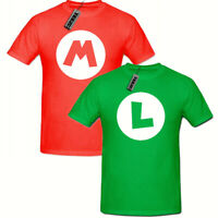 MARIO Red LUIGI Green tshirt, Childrens Super Brothers Gaming tshirt,Retro Kids