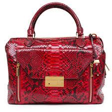 MICHAEL KORS NEW Gia Python Satchel Crimson Red Black Leather Bag Handbag Purse