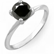 14K White Gold Black Diamond Bridal Engagement Solitaire Ring 1 CT (Size 5.5)