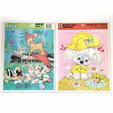 Vtg Frame Tray Puzzles Disney Lot of 2 Bambi Rainy Day Puppy Dog Childrens Toys