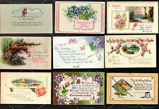 26  POSTCARD Antique Vintage BIRTHDAY 1905-1918 w 1c stamps Flowers + Landscapes