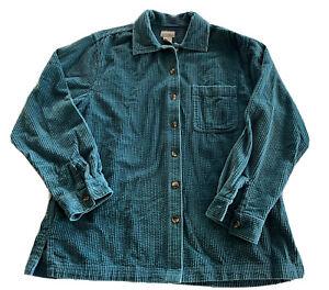 LL Bean Women Corduroy Shirt Jacket Wide Whale Button Down 0 QT22 Teal Sz M-Reg
