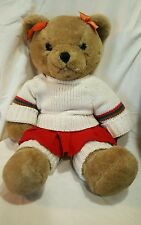 """Vintage Teddy bear girl eyelashes large 20"""" outfit sweater leg warmers"""