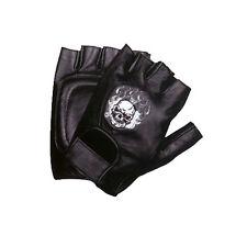 Motorcycle Biker Leather Fingerless Bike Gloves Large Skull & Flames XL